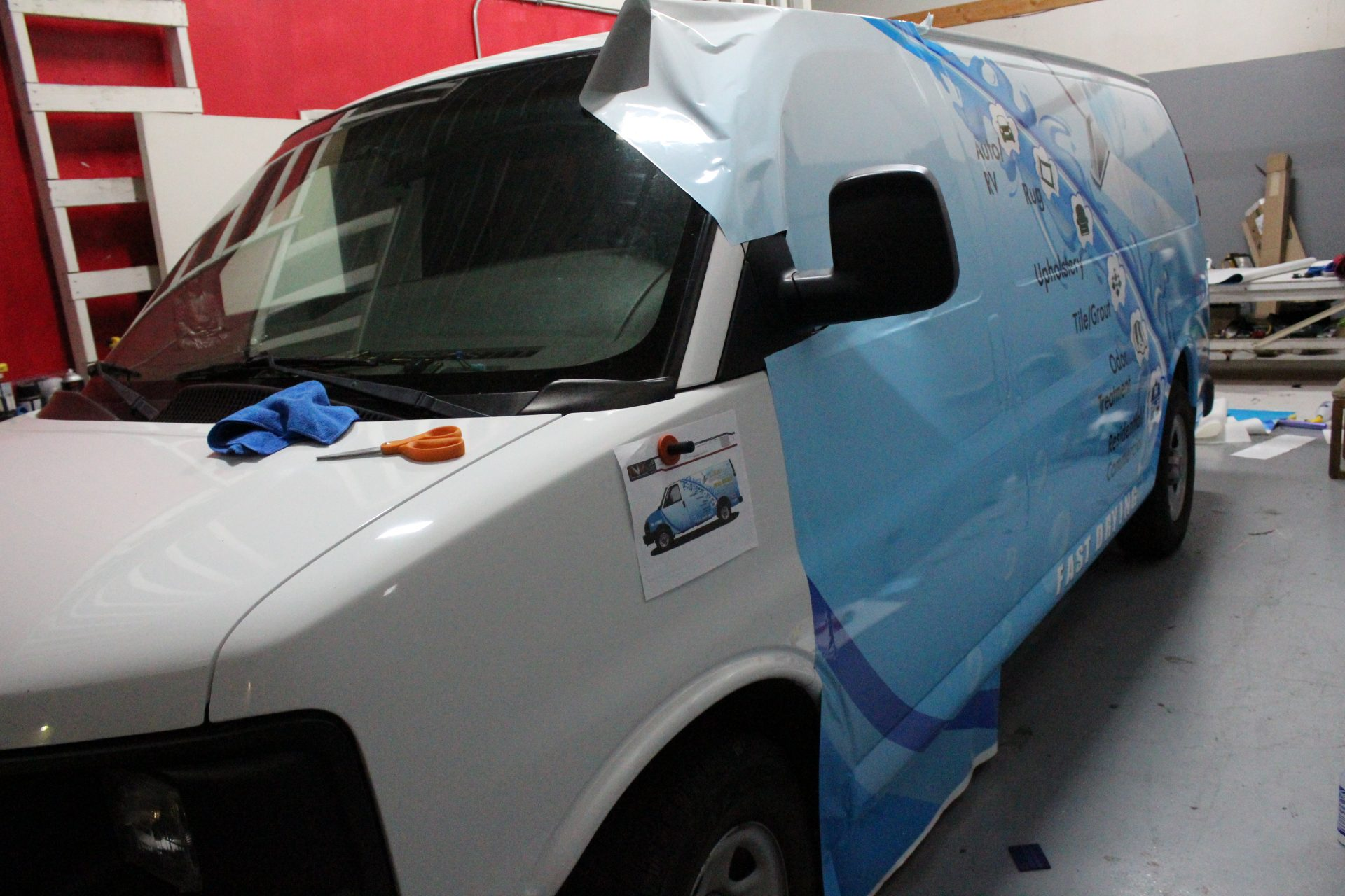 Vehicle Wrap in Progress by NV Wraps