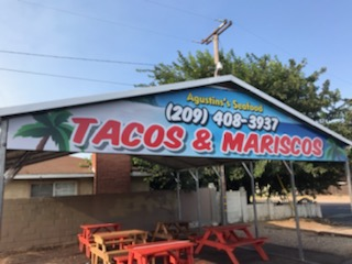 Sign for Food Stand - Tacos & Mariscos